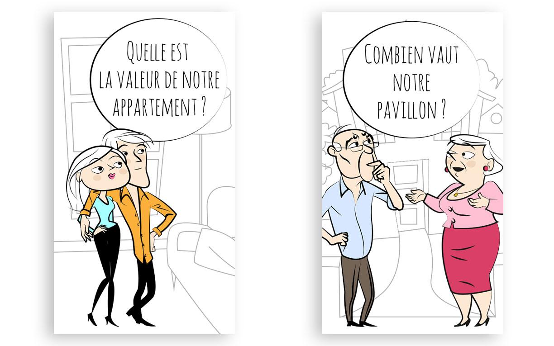 Personnage jeunes couples et retraités (illustrator)