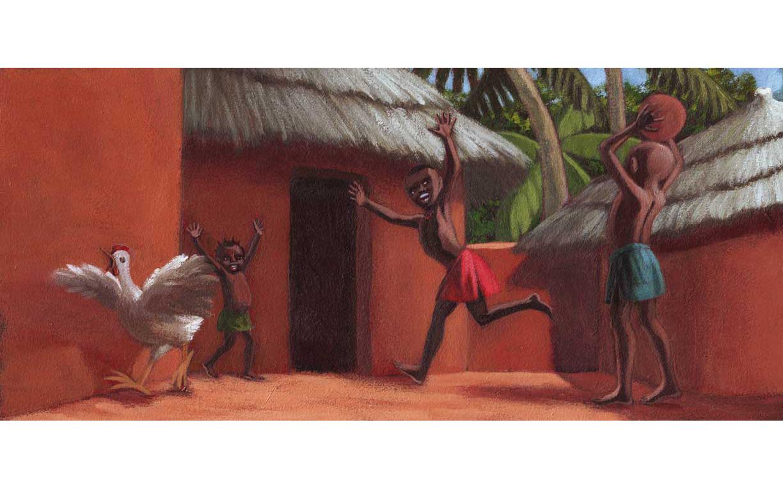 Enfants jouant au ballon dans un village en Afrique (acrylique)